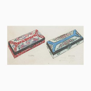 Unknown - Porcelain Boxe - Original China ink and Watercolor - 1890s
