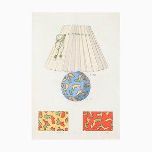Inconnu - Lampe et Décoration - Encre et Aquarelle Originales - 1890s