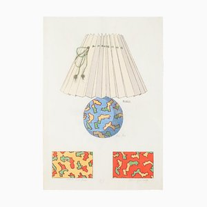 Unknown - Lamp and Decoration - Original Tinte und Aquarell - 1890er