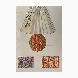 Sconosciuto - Lampada e decorazione - Acquarello originale - fine XIX secolo