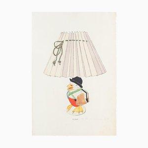 Inconnu - Lampe et Décoration - Encre et Aquarelle Originales - Fin 19ème Siècle