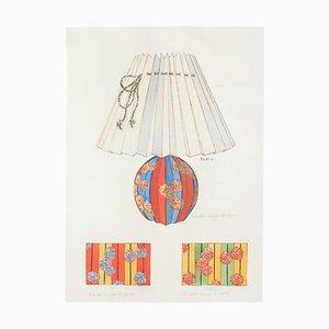 Sconosciuto - Lampada e decorazione - Inchiostro originale e acquerello, fine XIX secolo