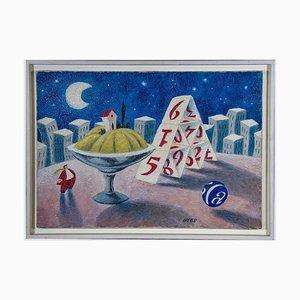 Armando Orfeo - Card Game - Original Oil Painting - 1999