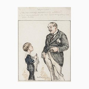 Luigi Bompard - Man and Child - Mixed Media Drawing - Early 20th Century