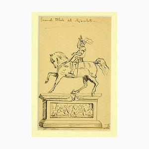 Sconosciuto - Monumento a Emanuele Filiberto - Disegno originale a penna nera - metà XIX secolo