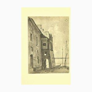 Sconosciuto - Ruins on the See - Inchiostro originale e acquerello di Karl Hann - anni '30