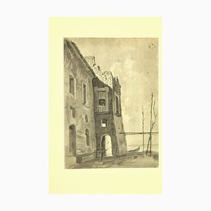 Unknown - Ruins on the See - Original Tinte und Aquarell von Karl Hann - 1930er