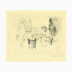 Henri de Rachy - Seller in castagna - Incisione originale, 1916
