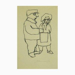 Mino Maccari - Figure - Original Charcoal on Paper - 1980s