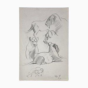 Disegno originale di Wilhelm Lorenz - Young Lions - metà XX secolo