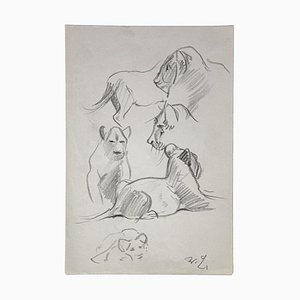 Wilhelm Lorenz - Young Lions - Dessin Original - Mid-20th Century