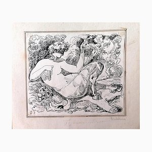 Unknown - the Satyr - Original China ink - 1880s