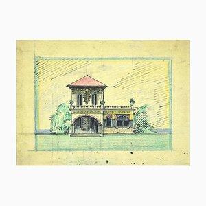 Gabriele Galantara - Villa - Tusche und Pastell Zeichnung - Frühes 20. Jahrhundert
