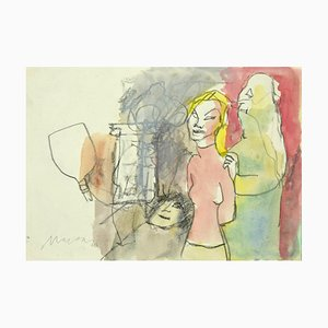 Mino Maccari - Figure - Original Pencil and Watercolor on Paper - 1980s