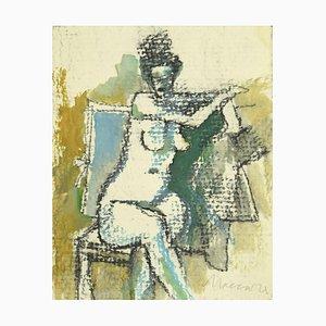 Mino Maccari - Akt einer Frau - Original Bleistift und Aquarell - 1980er