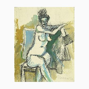 Mino Maccari - Nude of a Woman - Original Pencil and Watercolor - 1980s