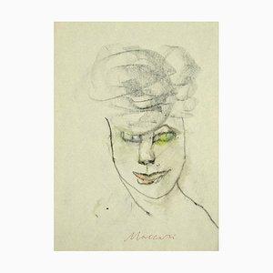 Mino Maccari - Portrait - Charbon Original et Aquarelle sur Papier - 1980s