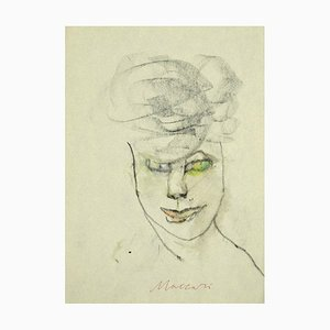 Mino Maccari - Portrait - Original Charcoal and Watercolor on Paper - 1980s