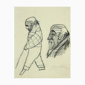 Mino Maccari - Portrait - Crayon Original sur Papier - 1980s