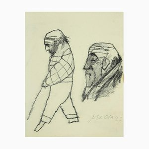 Mino Maccari - Portrait - Original Pencil on Paper - 1980s