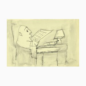 Mino Maccari - the Reader - Original Bleistift und Aquarell auf Papier - 1980er
