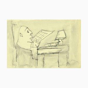 Mino Maccari - the Reader - Original Pencil and Watercolor on Paper - 1980s