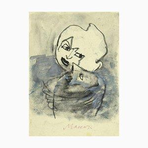 Mino Maccari - Portrait - Original Bleistift und Aquarell auf Papier - 1985