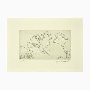 Mino Maccari - Figure - Original Etching on Paper - 1980s
