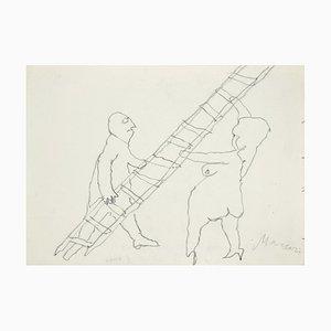Mino Maccari - the Ladder - Crayon Original sur Papier - 1985