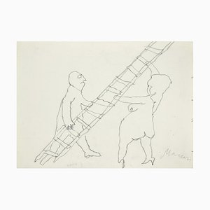 Mino Maccari - the Ladder - Original Pencil on Paper - 1985