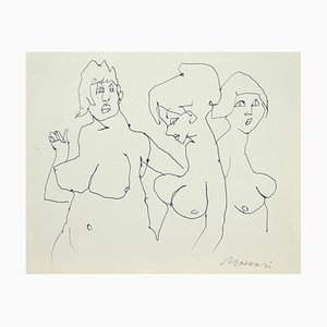 Mino Maccari - the Models - Original Pen on Paper - 1980s