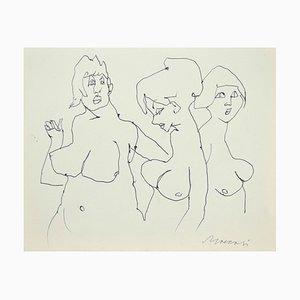 Mino Maccari - the Models - Original Pen sur Papier - 1980s