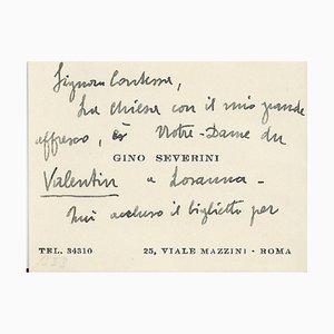 Gino Severini - Cartes de Visite de Gino Severini avec Notes - 1940s