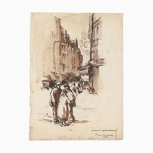 Unknown - Arab City Square - Original China ink and Watercolor - Mid-20th Century