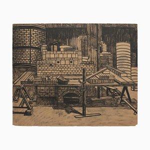 Lithographie Inconnue - Reconstruction - Original Lithograph on Paper - 1940s