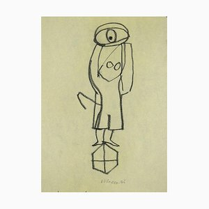 Mino Maccari - Monument - Crayon Original sur Papier - 1985