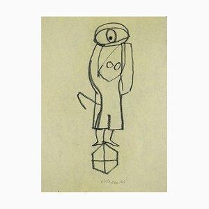 Mino Maccari - Monument - Original Bleistift auf Papier - 1985