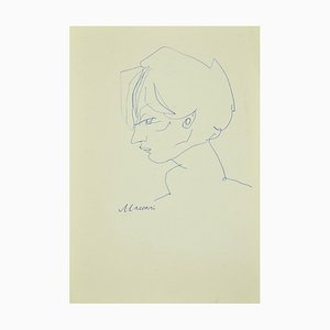 Mino Maccari - Portrait - Original Pen on Paper - 1970s