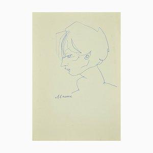 Mino Maccari - Portrait - Original Stift auf Papier - 1970er Jahre