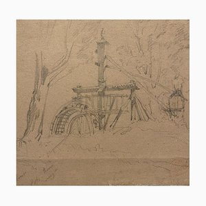 Unknown - the Water of the Well - Original Pencil Drawing - 19th Century