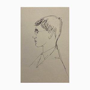 Tibor Gertler - Portrait - Encre de Chine Original sur Papier - 1950s