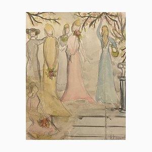 Inconnu - Filles dans le Jardin - Crayon et Aquarelle Originale - Mid-20th Century