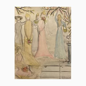 Unknown - Girls in the Garden - Originaler Bleistift und Aquarell - Mitte des 20. Jahrhunderts