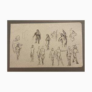 Inconnu - Etudes de Figures - Encre de Chine Originale - 19ème Siècle