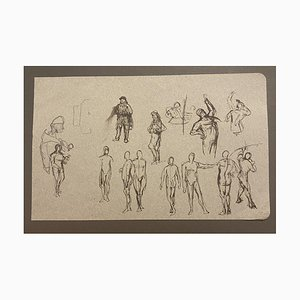 Unknown - Studies of Figures - Original China ink - 19th Century