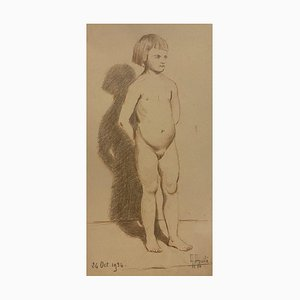 Desconocido - Desnudo de niña - Lápiz original y pasteles sobre papel - A principios del siglo XX