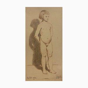 Unknown - Nu de Little Girl - Crayon Original et Pastels sur Papier - Début 20ème Siècle