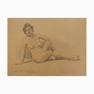 Unknown - Nu de Femme - Dessin Original au Crayon et Pastels - Mid-20th Century
