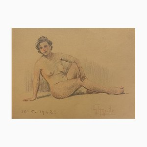 Unknown - Nude of Woman - Original Pencil and Pastels Drawing - Mid-20th Century