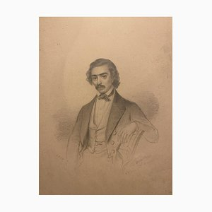 Inconnu - Portrait d'un Homme - Dessin au Plume Original - Début 20ème Siècle